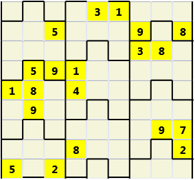 Film L(2,4) D(20,24,4,4,3,0) V Difficult Similar to the regular 9 by 9 Sudoku but the squares have lumps in the top and bottom. The problem wraps top to bottom but not side to side so the overall geometry is a cylinder.