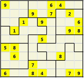 Jigsaw L(2,4) D(23,18,2,1,1,0) V Difficult As regular 9 by 9 but the normal 3X3 boxes are irregular shapes
