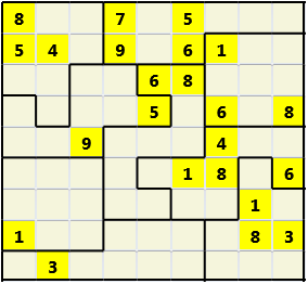 Jigsaw L(2,4) D(23,25,2,2,2,0) V Difficult As regular 9 by 9 but the normal 3X3 boxes are irregular shapes