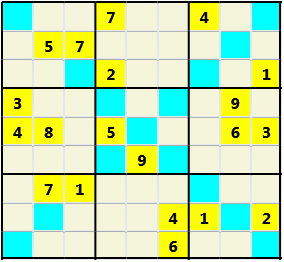 Sudoku 9X9X L(1,1) D(20,8,7,0,0,0) Easy As regular 9 by 9 but must also have unique characters in each diagonal, highlighted.