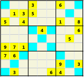 Sudoku 9X9X L(1,1) D(22,8,0,0,0,0) Easy As regular 9 by 9 but must also have unique characters in each diagonal, highlighted.