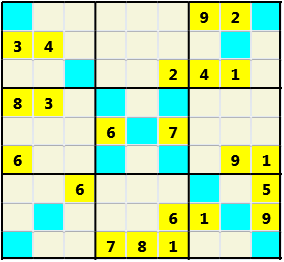 Sudoku 9X9X L(1,2) D(22,12,1,0,0,0) Gentle As regular 9 by 9 but must also have unique characters in each diagonal, highlighted.