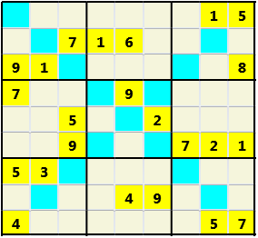 Sudoku 9X9X L(1,3) D(23,14,2,2,0,0) Moderate As regular 9 by 9 but must also have unique characters in each diagonal, highlighted.