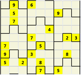 Film L(2,4) D(19,22,4,4,4,0) V Difficult Similar to the regular 9 by 9 Sudoku but the squares have lumps in the top and bottom. The problem wraps top to bottom but not side to side so the overall geometry is a cylinder.