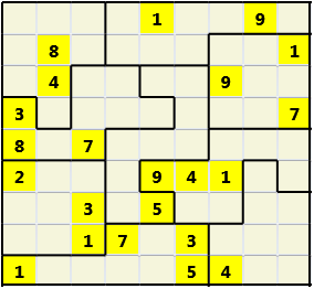 Jigsaw L(2,1) D(22,12,0,0,0,0) Moderate As regular 9 by 9 but the normal 3X3 boxes are irregular shapes
