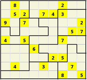 Jigsaw L(2,1) D(23,12,0,0,0,0) Moderate As regular 9 by 9 but the normal 3X3 boxes are irregular shapes