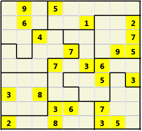 Jigsaw L(2,1) D(24,9,0,0,0,0) Moderate As regular 9 by 9 but the normal 3X3 boxes are irregular shapes