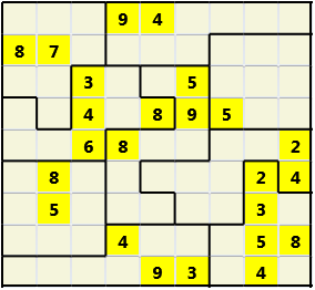 Jigsaw L(2,4) D(24,21,4,4,1,0) V Difficult As regular 9 by 9 but the normal 3X3 boxes are irregular shapes