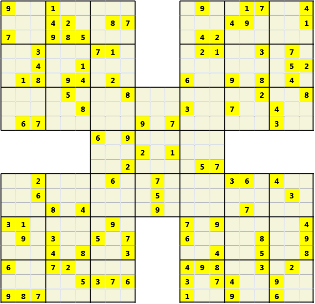 Samurai L(2,1) D(113,11,0,0,0,0) Moderate Effectively 5 intersecting 9 by 9 Sudoku problems which must all be solved at the same time. Usually not particularly difficult problems but time consuming