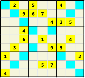 Sudoku 9X9X L(1,1) D(21,14,0,0,0,0) Easy As regular 9 by 9 but must also have unique characters in each diagonal, highlighted.