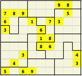Jigsaw L(2,4) D(23,10,2,2,1,0) V Difficult As regular 9 by 9 but the normal 3X3 boxes are irregular shapes