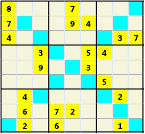 Sudoku 9X9X L(1,1) D(22,10,0,0,0,0) Easy As regular 9 by 9 but must also have unique characters in each diagonal, highlighted.