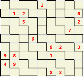 Backslash L(2,1) D(18,10,0,0,0,0) Moderate Must have unique characters in each row and column but the 3 by 3 boxes are replaced by backslashes. These wrap left to right and top to bottom so the overall geometry is a doughnut (torus)