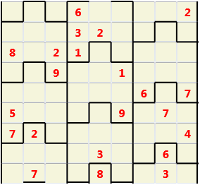 Film L(2,1) D(22,13,0,0,0,0) Moderate Similar to the regular 9 by 9 Sudoku but the squares have lumps in the top and bottom. The problem wraps top to bottom but not side to side so the overall geometry is a cylinder.