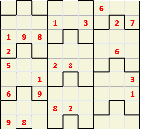 Film L(2,1) D(22,9,0,0,0,0) Moderate Similar to the regular 9 by 9 Sudoku but the squares have lumps in the top and bottom. The problem wraps top to bottom but not side to side so the overall geometry is a cylinder.