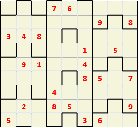 Film L(2,1) D(23,11,0,0,0,0) Moderate Similar to the regular 9 by 9 Sudoku but the squares have lumps in the top and bottom. The problem wraps top to bottom but not side to side so the overall geometry is a cylinder.
