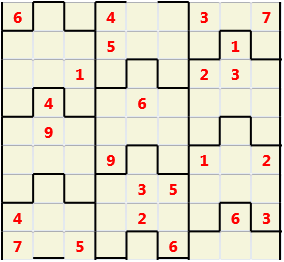 Film L(2,1) D(24,8,0,0,0,0) Moderate Similar to the regular 9 by 9 Sudoku but the squares have lumps in the top and bottom. The problem wraps top to bottom but not side to side so the overall geometry is a cylinder.