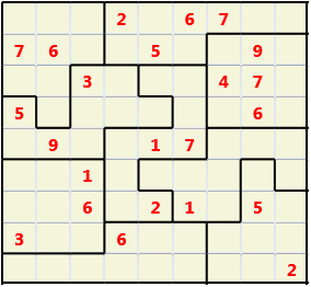 Jigsaw L(2,1) D(23,9,0,0,0,0) Moderate As regular 9 by 9 but the normal 3X3 boxes are irregular shapes