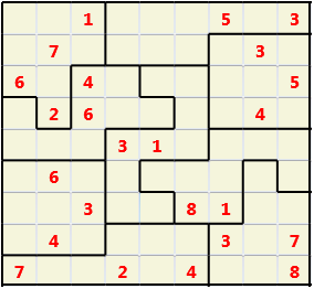 Jigsaw L(2,1) D(24,10,0,0,0,0) Moderate As regular 9 by 9 but the normal 3X3 boxes are irregular shapes