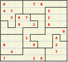 Jigsaw L(2,1) D(24,11,0,0,0,0) Moderate As regular 9 by 9 but the normal 3X3 boxes are irregular shapes