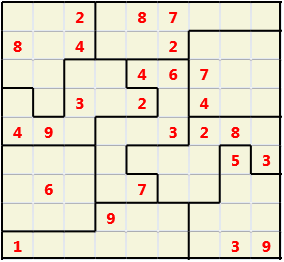 Jigsaw L(2,1) D(25,10,0,0,0,0) Moderate As regular 9 by 9 but the normal 3X3 boxes are irregular shapes