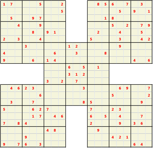 Samurai L(2,1) D(111,15,0,0,0,0) Moderate Effectively 5 intersecting 9 by 9 Sudoku problems which must all be solved at the same time. Usually not particularly difficult problems but time consuming