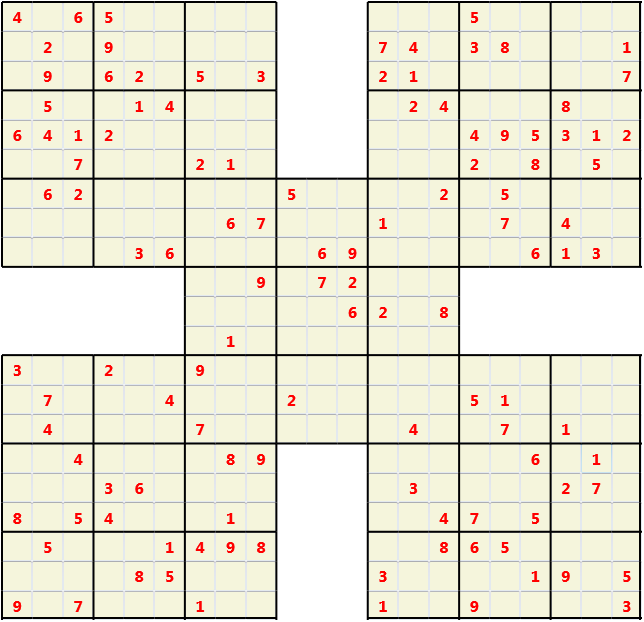 Samurai L(2,1) D(115,21,0,0,0,0) Moderate Effectively 5 intersecting 9 by 9 Sudoku problems which must all be solved at the same time. Usually not particularly difficult problems but time consuming