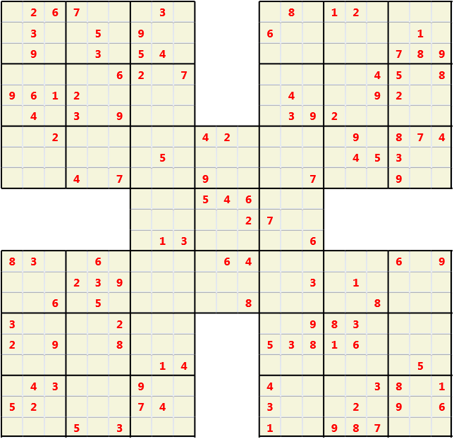 Samurai L(2,1) D(115,9,0,0,0,0) Moderate Effectively 5 intersecting 9 by 9 Sudoku problems which must all be solved at the same time. Usually not particularly difficult problems but time consuming