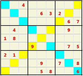 Sudoku 9X9X L(1,1) D(21,9,0,0,0,0) Easy As regular 9 by 9 but must also have unique characters in each diagonal, highlighted.