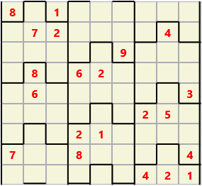 Film L(2,1) D(21,14,0,0,0,0) Moderate Similar to the regular 9 by 9 Sudoku but the squares have lumps in the top and bottom. The problem wraps top to bottom but not side to side so the overall geometry is a cylinder.