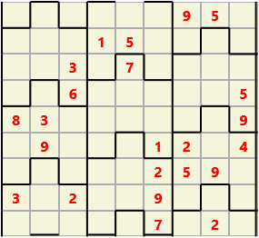 Film L(2,4) D(23,23,6,6,3,0) V Difficult Similar to the regular 9 by 9 Sudoku but the squares have lumps in the top and bottom. The problem wraps top to bottom but not side to side so the overall geometry is a cylinder.