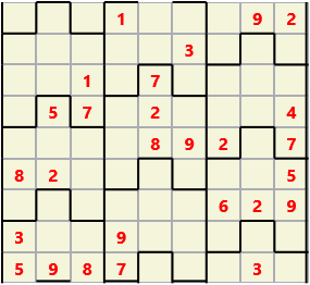 Film L(2,1) D(27,7,0,0,0,0) Moderate Similar to the regular 9 by 9 Sudoku but the squares have lumps in the top and bottom. The problem wraps top to bottom but not side to side so the overall geometry is a cylinder.