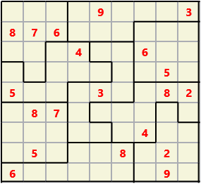 Jigsaw L(2,1) D(20,13,0,0,0,0) Moderate As regular 9 by 9 but the normal 3X3 boxes are irregular shapes
