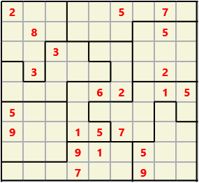 Jigsaw L(2,1) D(22,17,0,0,0,0) Moderate As regular 9 by 9 but the normal 3X3 boxes are irregular shapes