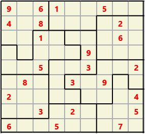 Jigsaw L(2,1) D(24,7,0,0,0,0) Moderate As regular 9 by 9 but the normal 3X3 boxes are irregular shapes