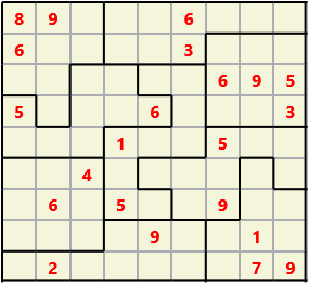 Jigsaw L(2,4) D(22,21,2,1,1,0) V Difficult As regular 9 by 9 but the normal 3X3 boxes are irregular shapes