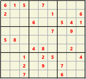 Sudoku 9X9 L(1,1) D(27,10,0,0,0,0) Easy This is the standard geometry that is usually seen. Characters must not repeat in rows or columns or in any of the 3 by 3 boxes that are outlined.