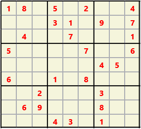 Sudoku 9X9 L(1,1) D(28,4,0,0,0,0) Easy This is the standard geometry that is usually seen. Characters must not repeat in rows or columns or in any of the 3 by 3 boxes that are outlined.