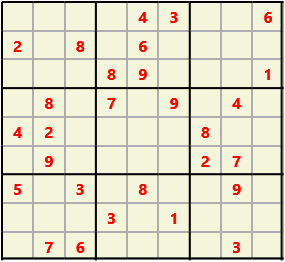 Sudoku 9X9 L(1,1) D(28,5,0,0,0,0) Easy This is the standard geometry that is usually seen. Characters must not repeat in rows or columns or in any of the 3 by 3 boxes that are outlined.