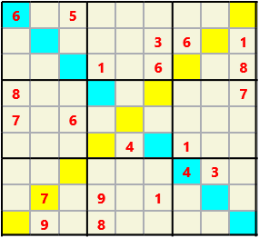 Sudoku 9X9X L(1,4) D(21,13,1,1,1,0) Difficult As regular 9 by 9 but must also have unique characters in each diagonal, highlighted.