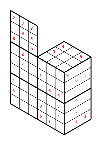 Tred 02 L(2,1) D(29,6,0,0,0,0) Moderate Tredoku 3 dimensional problem 02 with 8 faces, 6 rows and 9 columns