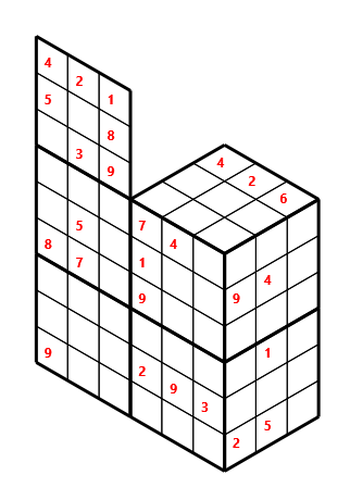 Tred 02 L(2,2) D(26,14,1,0,0,0) Moderate Tredoku 3 dimensional problem 02 with 8 faces, 6 rows and 9 columns