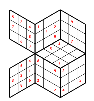 Tred 03 L(2,1) D(30,5,0,0,0,0) Moderate Tredoku 3 dimensional problem 03 with 7 faces, 6 rows and 6 columns