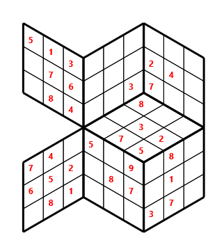 Tred 03 L(2,1) D(31,5,0,0,0,0) Moderate Tredoku 3 dimensional problem 03 with 7 faces, 6 rows and 6 columns
