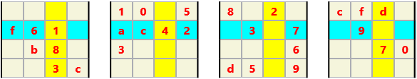 3D 4X4 Cube L(2,1) D(29,5,0,0,0,0) Moderate True 3 dimensional problem. Each 4X4 square is one plane of a 4X4X4 cube. Consider the squares stacked on top of each other. There are 12 planes in this problem each of which is a 4X4 square which must have no repeating characters. Some of the planes are highlighted. There are 16 possible characters so I use a standard hexadecimal character set: 0,1,2,…,9,a,…,f.