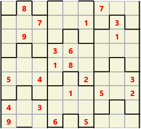 Film L(2,1) D(23,9,0,0,0,0) Moderate Similar to the regular 9 by 9 Sudoku but the squares have lumps in the top and bottom. The problem wraps top to bottom but not side to side so the overall geometry is a cylinder.
