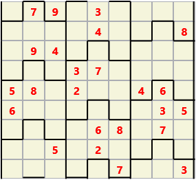 Film L(2,1) D(24,7,0,0,0,0) Moderate Similar to the regular 9 by 9 Sudoku but the squares have lumps in the top and bottom. The problem wraps top to bottom but not side to side so the overall geometry is a cylinder.