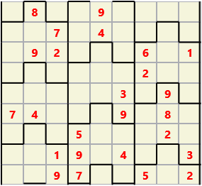 Film L(2,4) D(25,15,2,1,1,0) V Difficult Similar to the regular 9 by 9 Sudoku but the squares have lumps in the top and bottom. The problem wraps top to bottom but not side to side so the overall geometry is a cylinder.