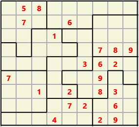 Jigsaw L(2,1) D(23,10,0,0,0,0) Moderate As regular 9 by 9 but the normal 3X3 boxes are irregular shapes