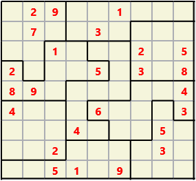 Jigsaw L(2,1) D(25,7,0,0,0,0) Moderate As regular 9 by 9 but the normal 3X3 boxes are irregular shapes
